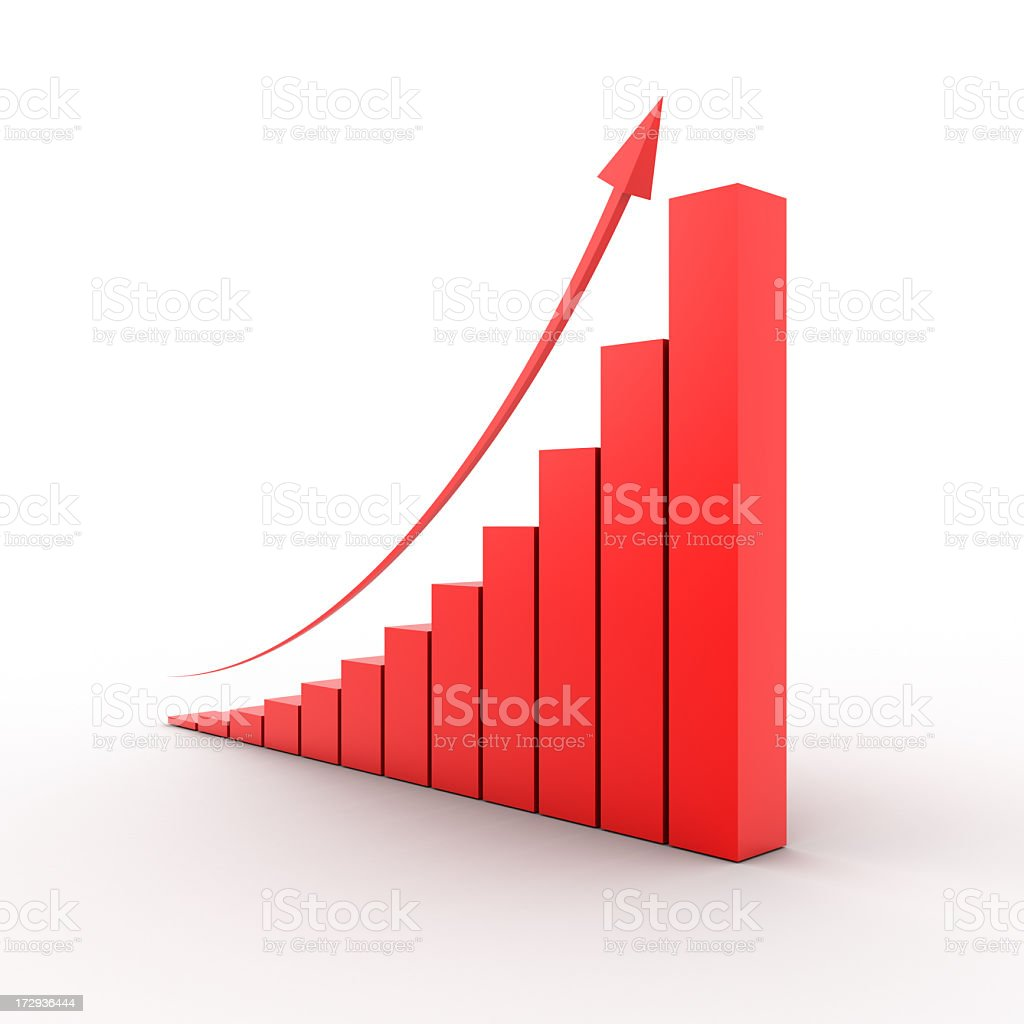 A red graph showing exponential growth stock photo