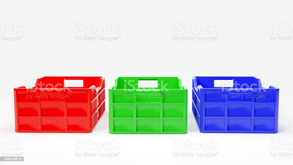 red green and blue boxes used in transport 3d illustration stock photo