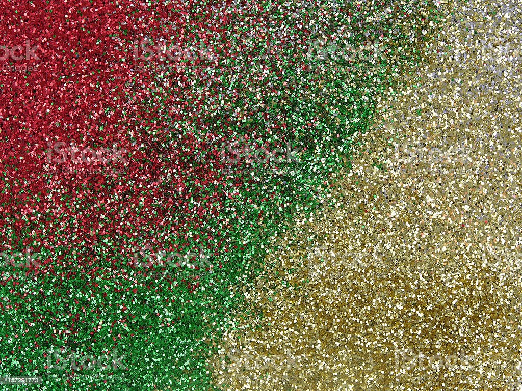Red, green, and gold glitter
