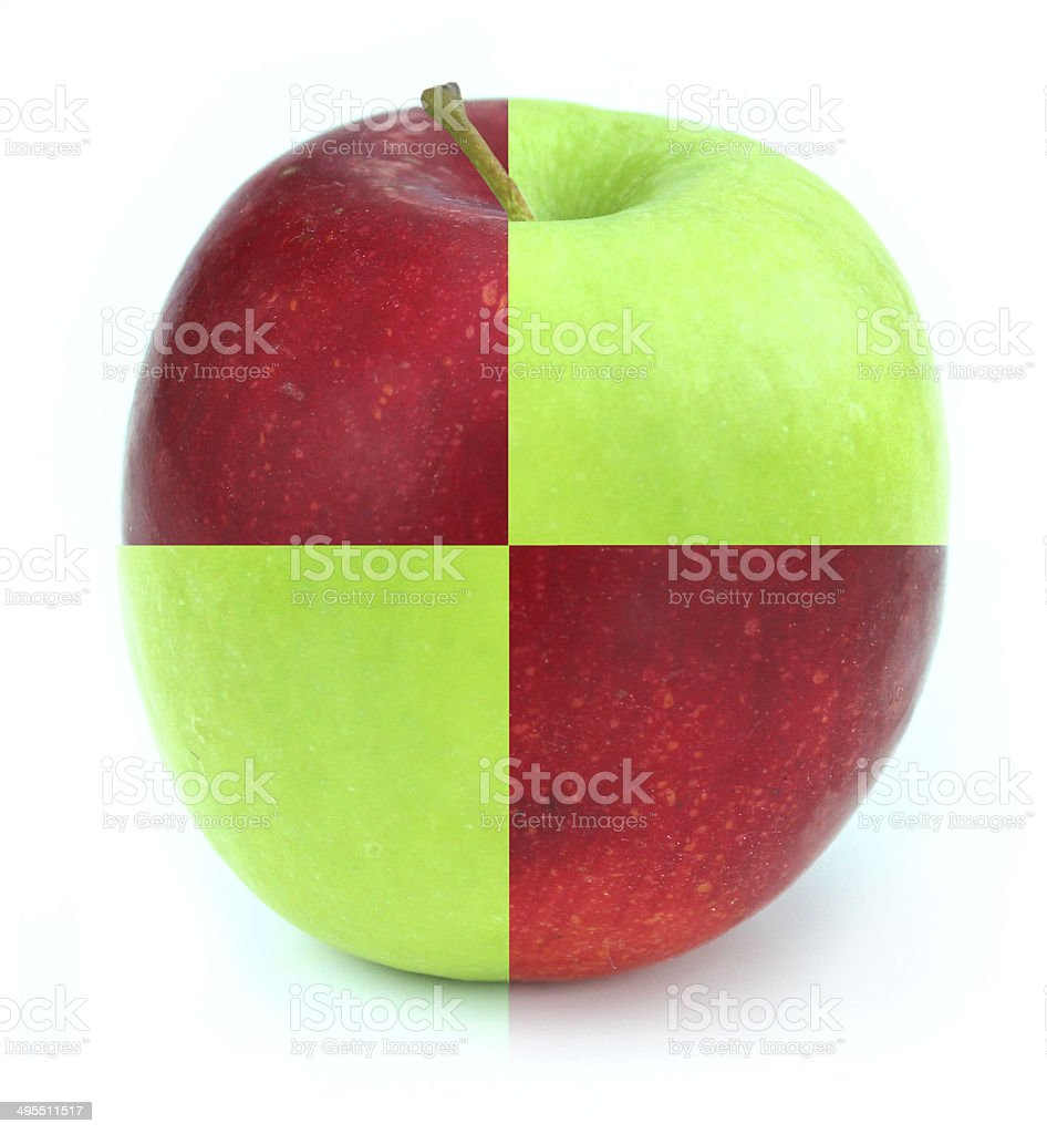 Red / green apple, two apples joined together, genetically modified fruit stock photo