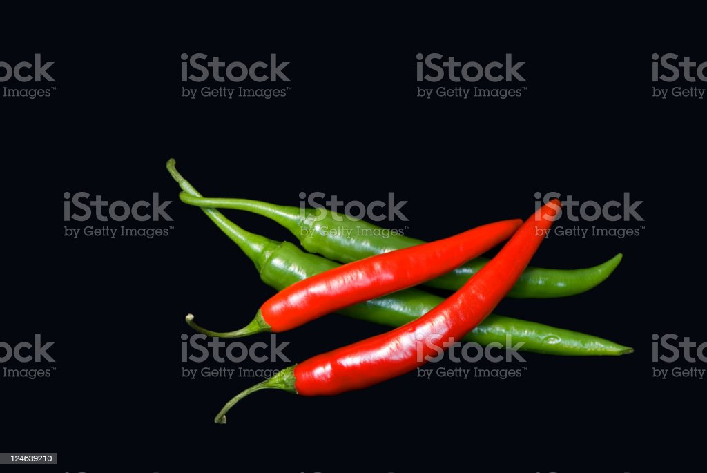Red & Green chillies stock photo