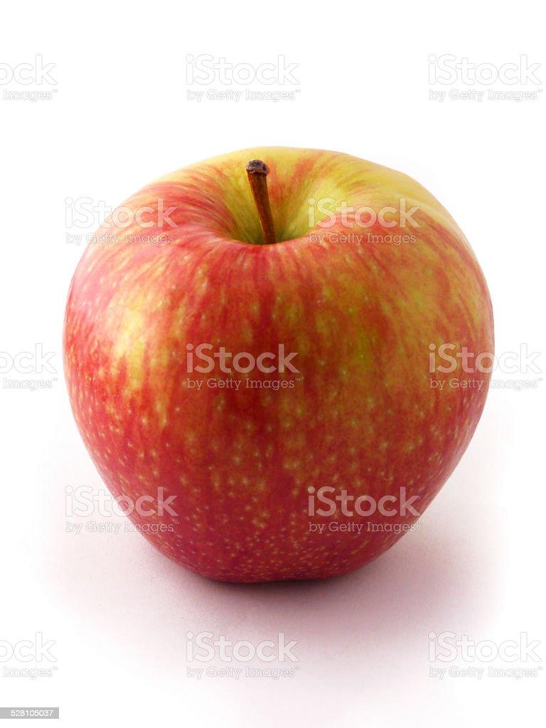 Red Green Shiny Apple Isolated Fruit Raw Food Produce Stem stock photo