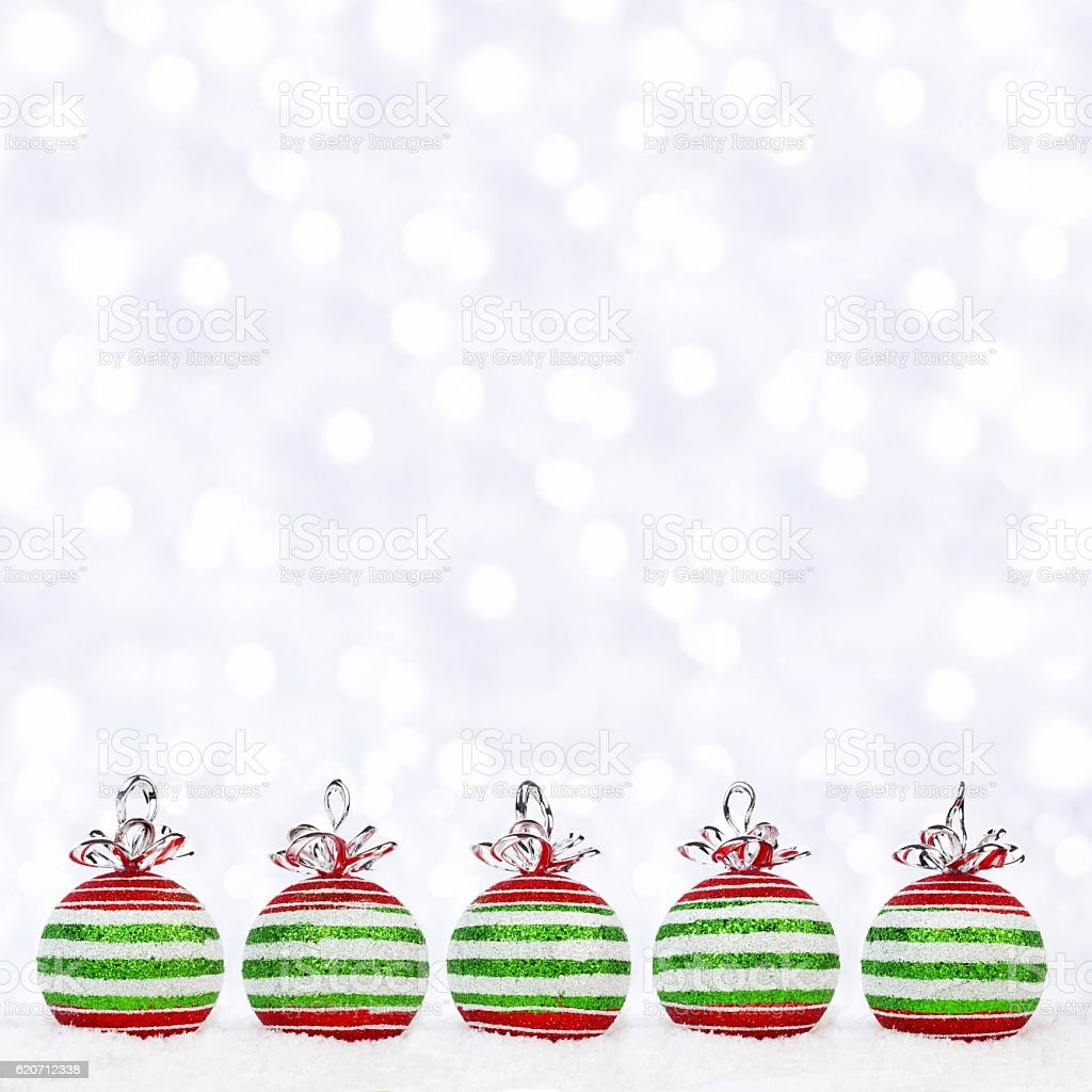 Red green and white christmas ornaments - Red Green White Christmas Ornaments In Snow With Twinkling Background Royalty Free Stock