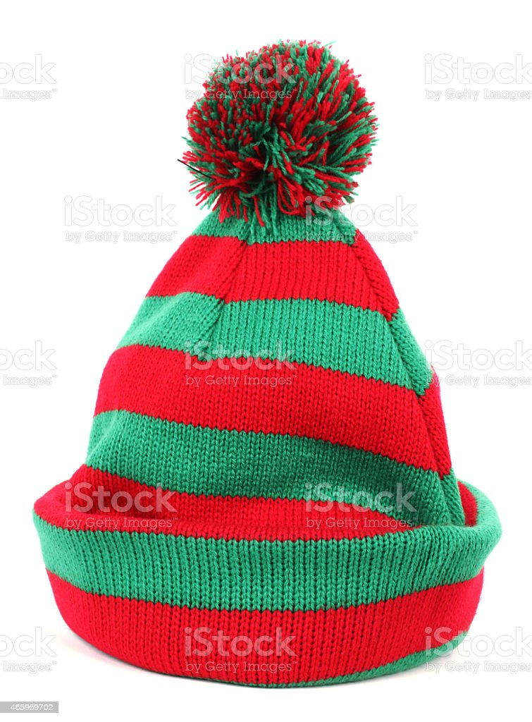 Red green winter cap stock photo