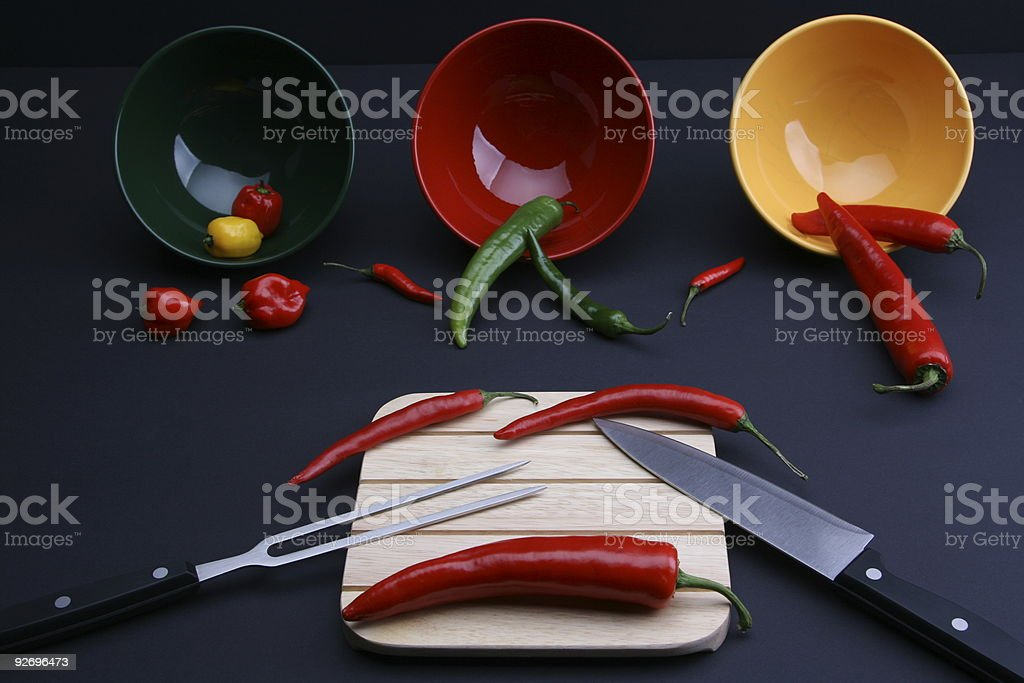 Red Green Yellow Pepper Set stock photo