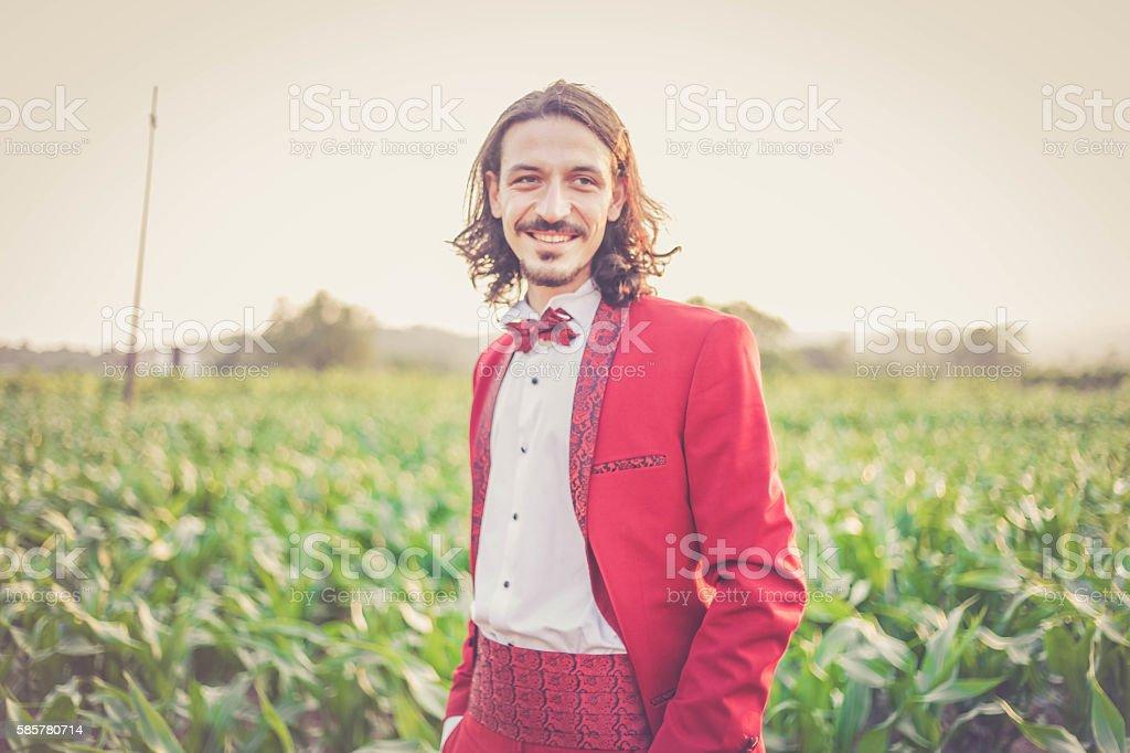 red groom stock photo