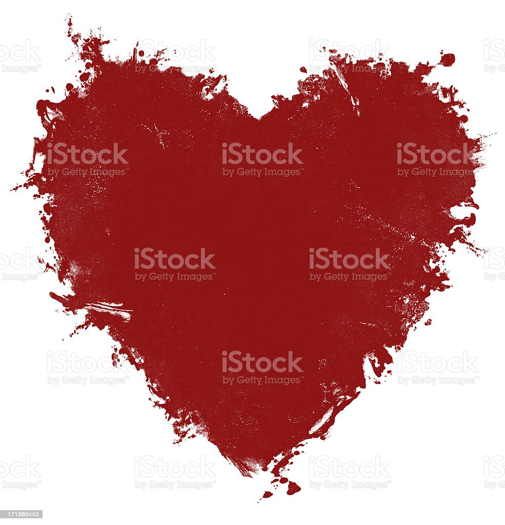 red grunge isolated heart art royalty-free stock photo