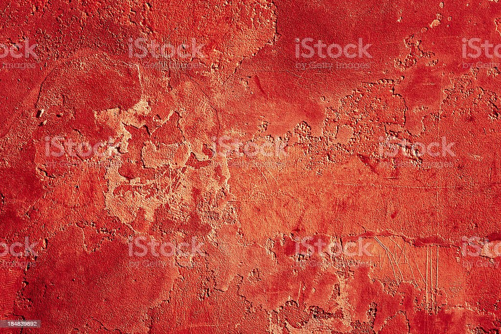Red Grunge Plaster Wall, Texture Background royalty-free stock photo