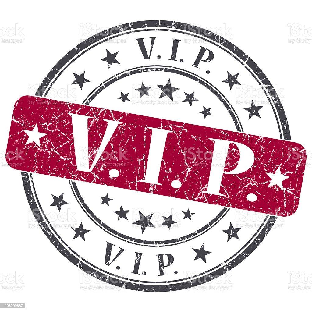 VIP red grunge round stamp on white background stock photo