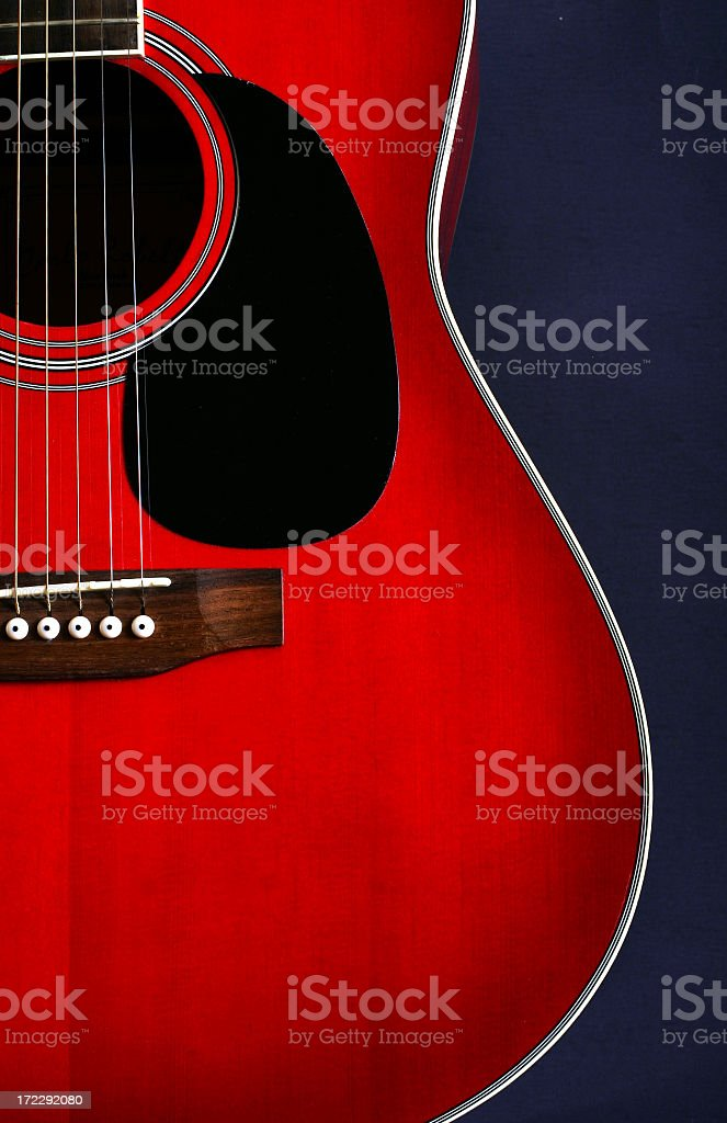 Red guitar vertical stock photo