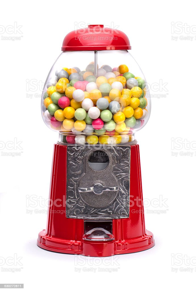 Red Gumball Machine isolated on white stock photo