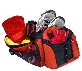 Red Gym Bag Ready for Workout, Isolated on White