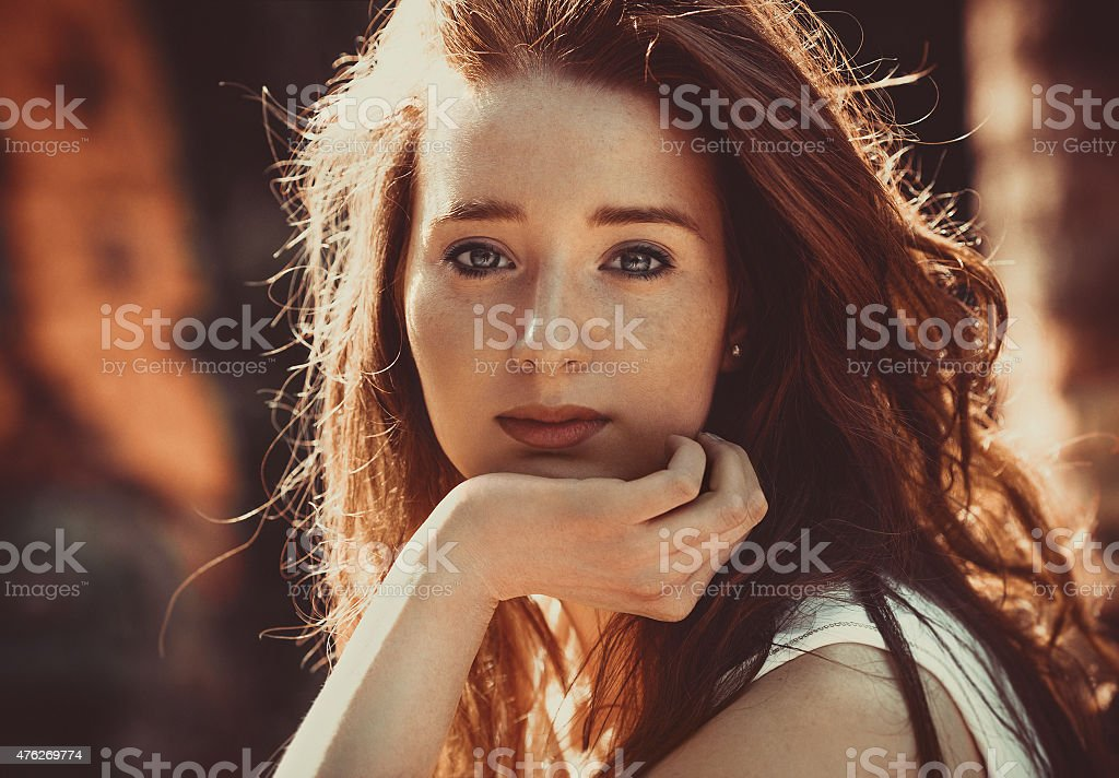 Red hair beauty stock photo