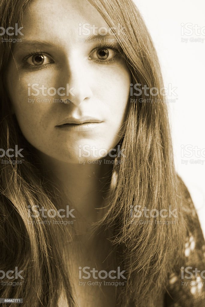 Red hair in sepia royalty-free stock photo