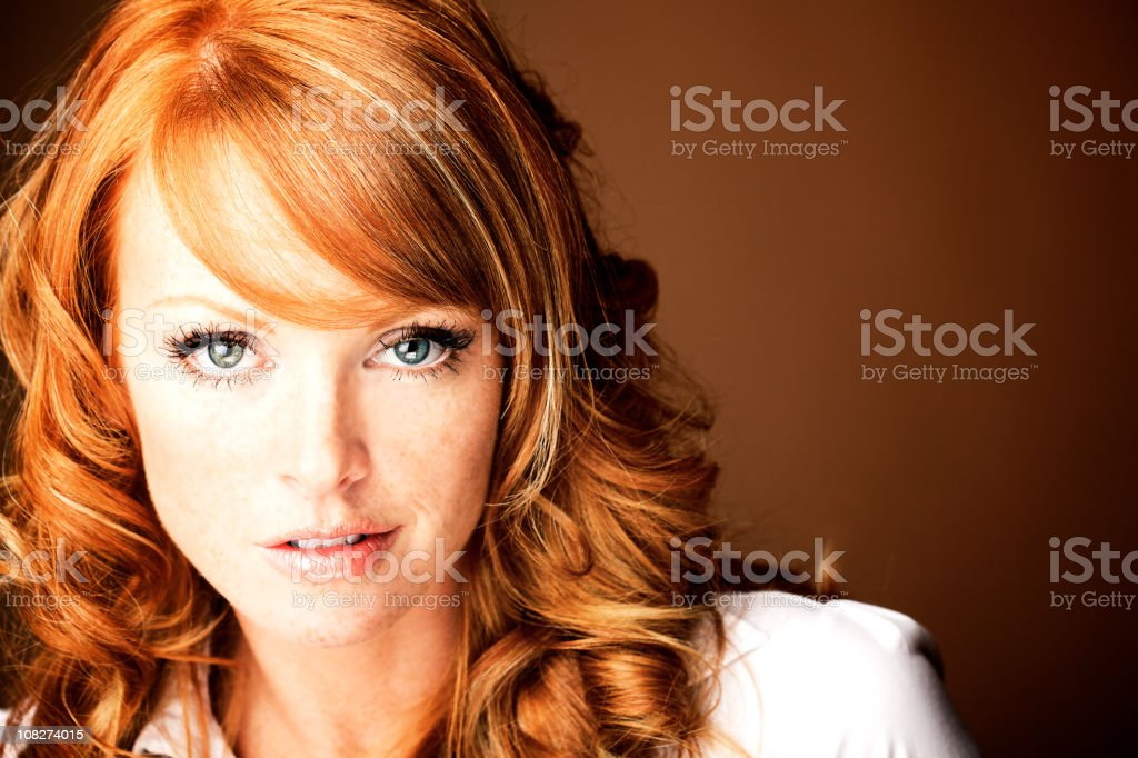 red hair  portrait woman with blue eyes royalty-free stock photo