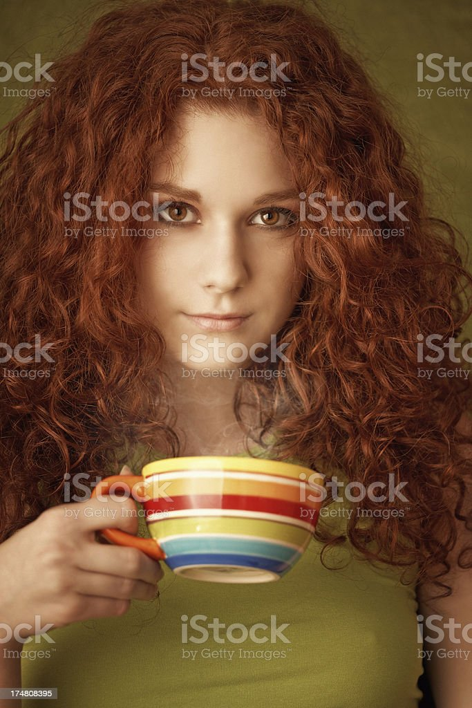 red haired beauty drinking tea royalty-free stock photo