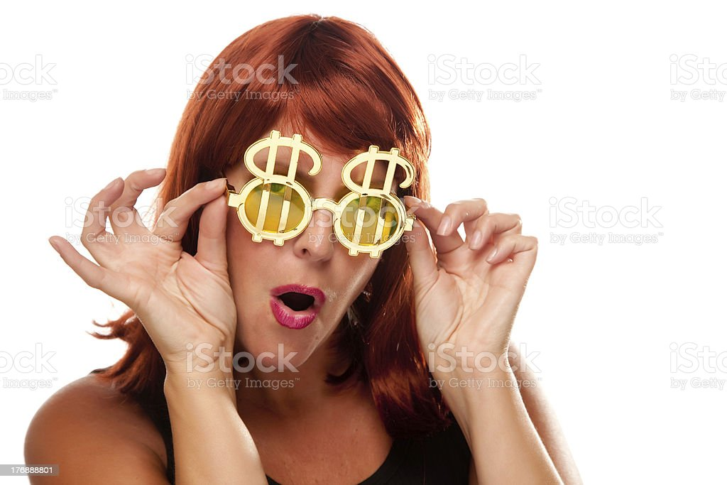 Red Haired Girl with Bling-Bling Dollar Glasses royalty-free stock photo