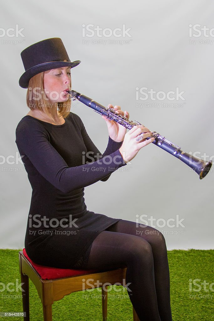 Red Haired Musician In Black stock photo