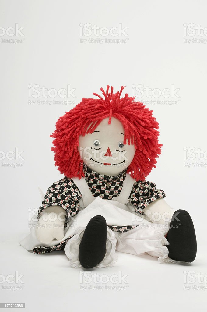 Red haired rag doll stock photo