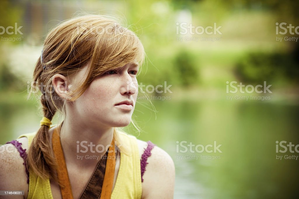 Red haired spring portrait stock photo
