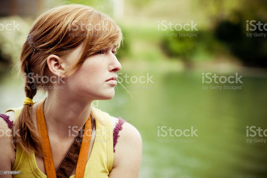 Red haired spring profile royalty-free stock photo