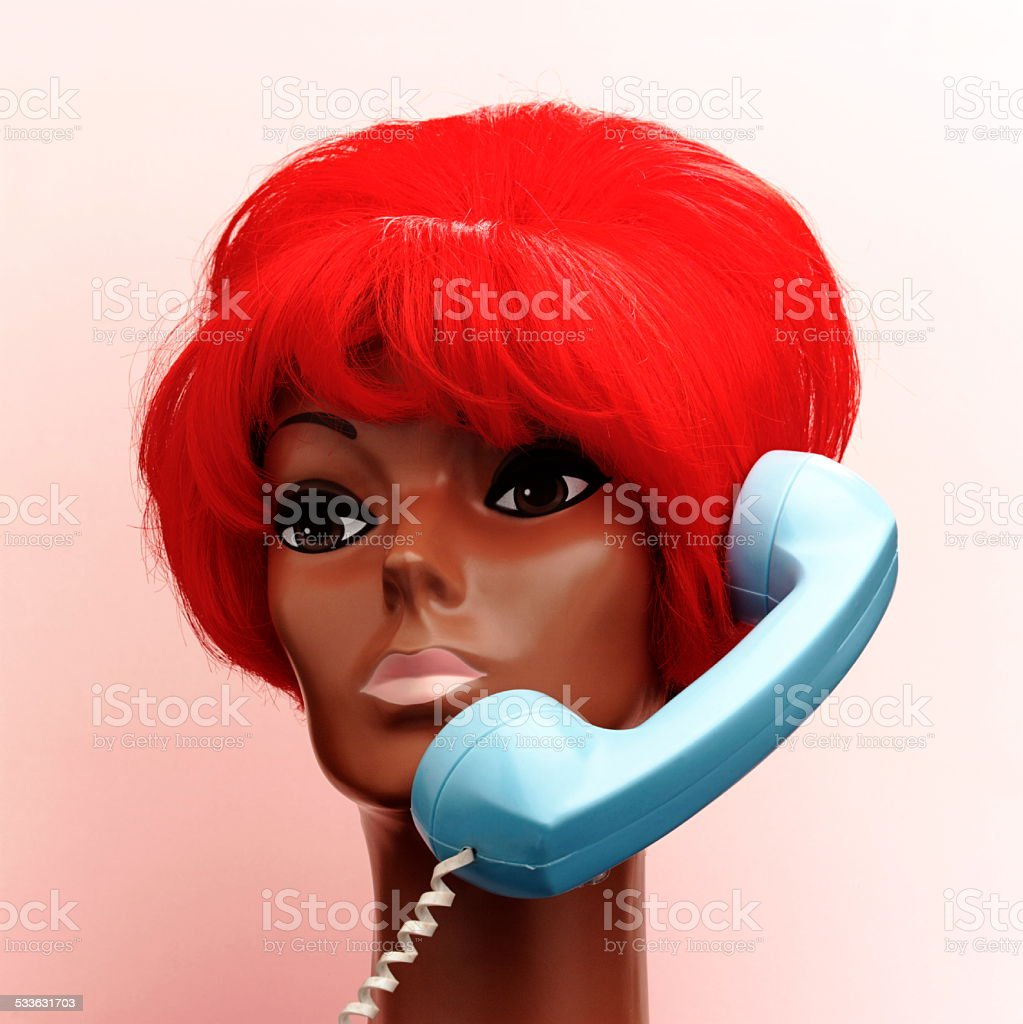 Red Haired Woman on Telephone stock photo