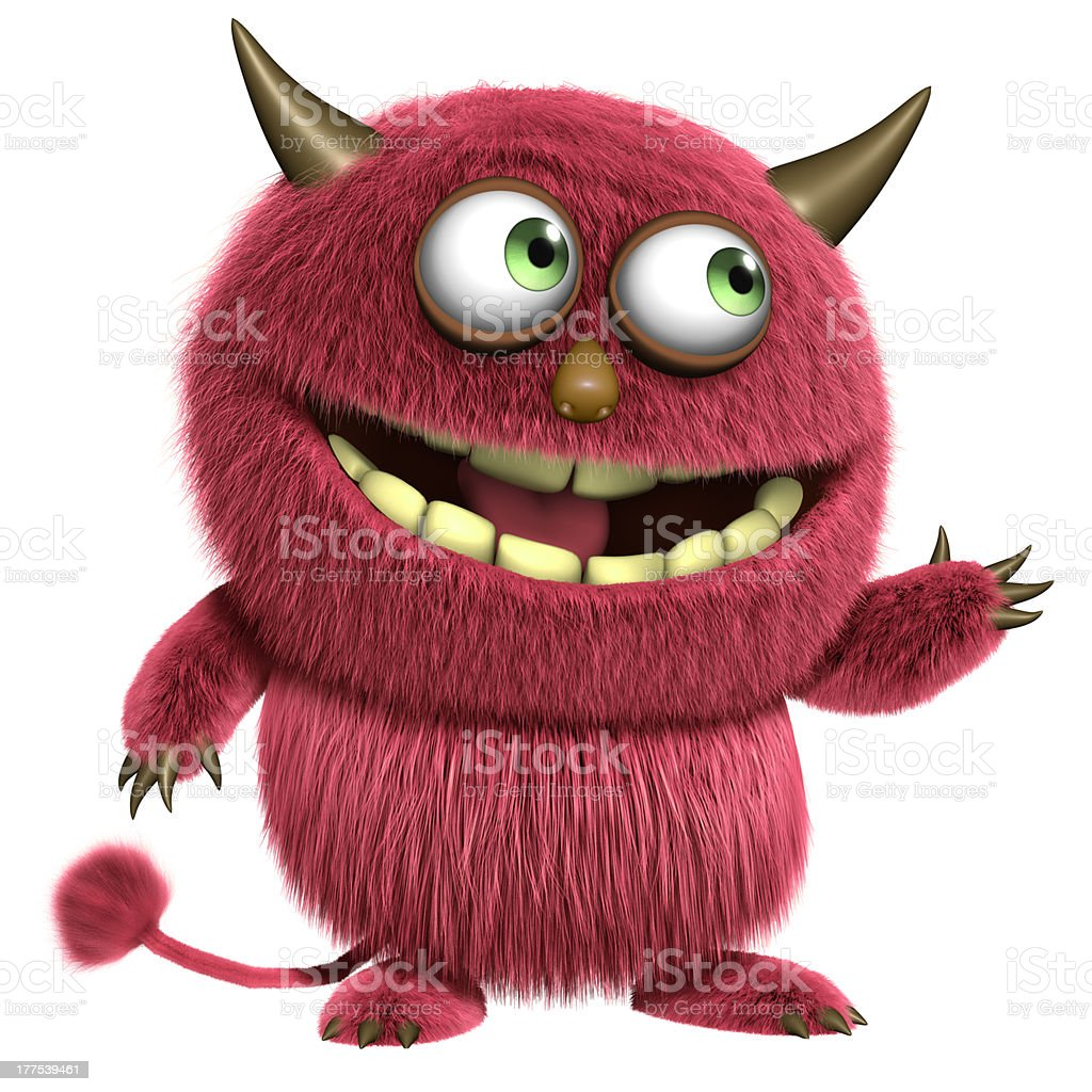 red hairy alien stock photo