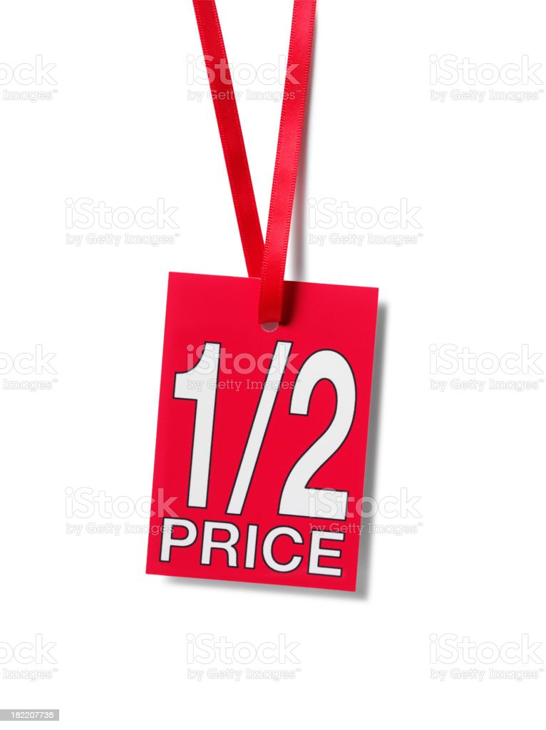 Red Half Price Sale Label stock photo