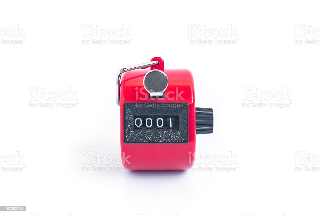 red hand tally counter on white background stock photo