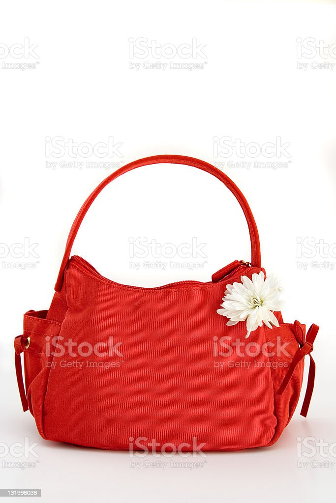 Red handbag with pretty white flower royalty-free stock photo