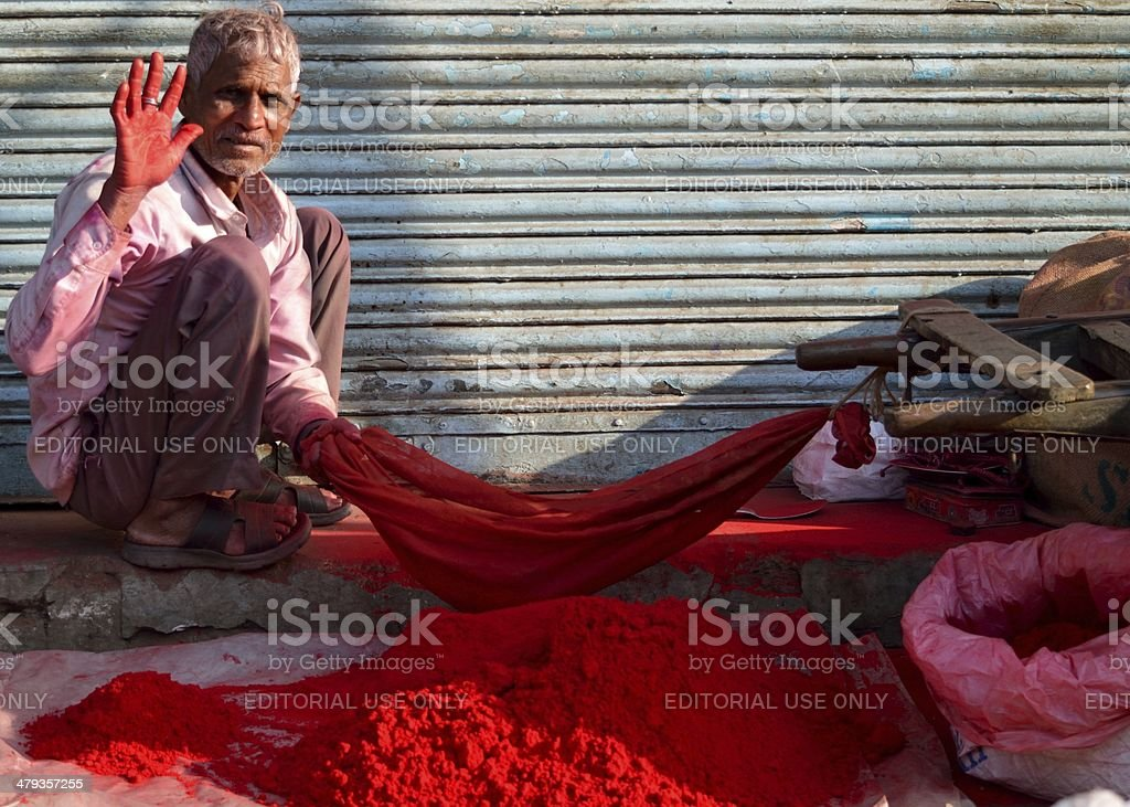 Red handed stock photo