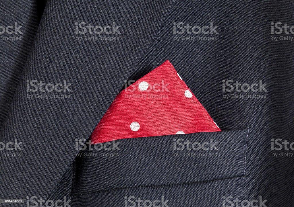 Red handkerchief in blue blazer stock photo