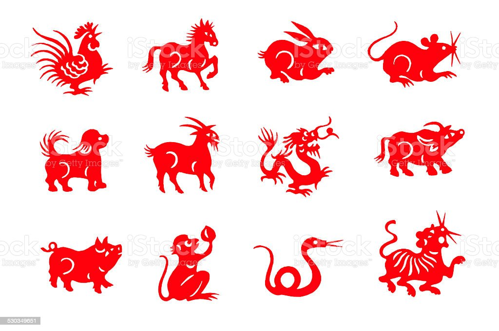 Red handmade cut paper chinese zodiac animals stock photo
