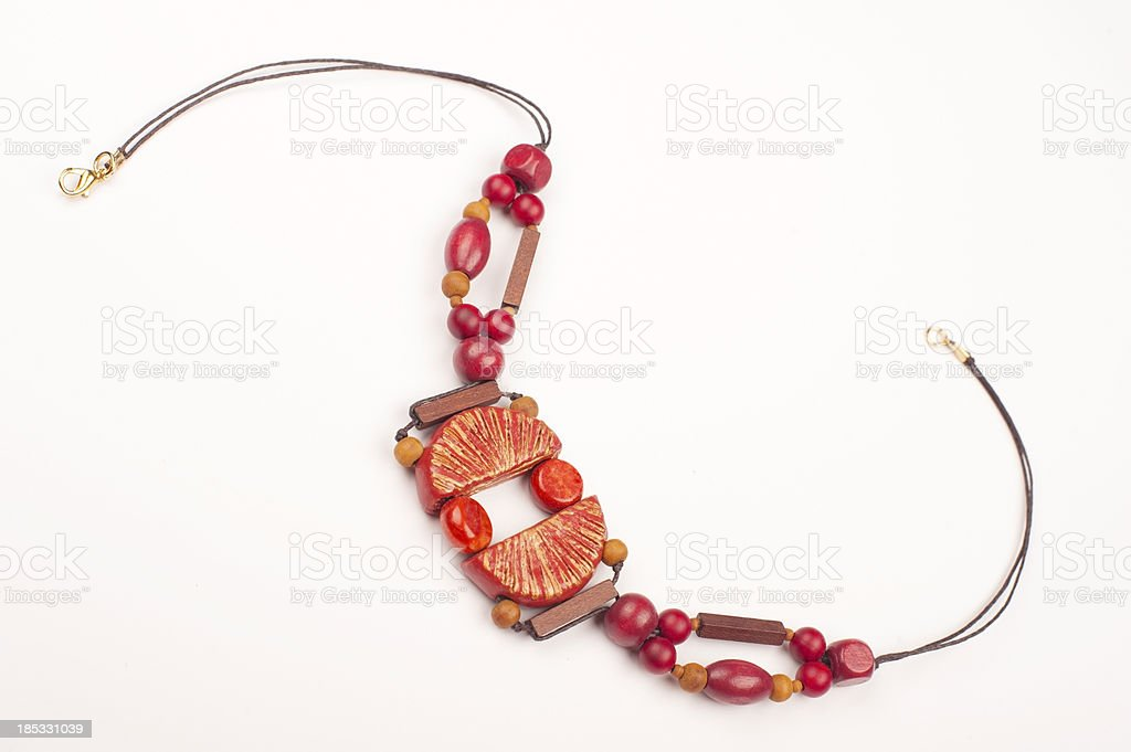 Red Handmade Necklace royalty-free stock photo