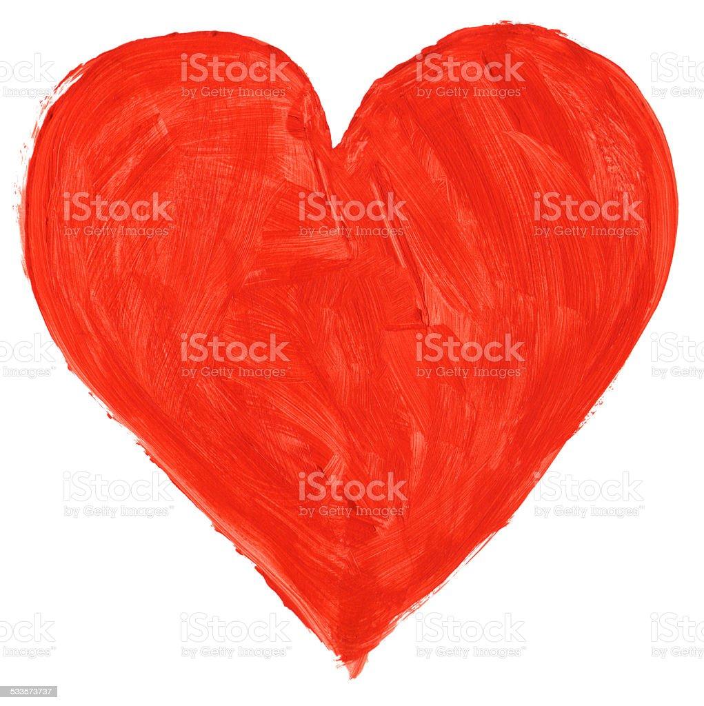 red handpainted heart stock photo