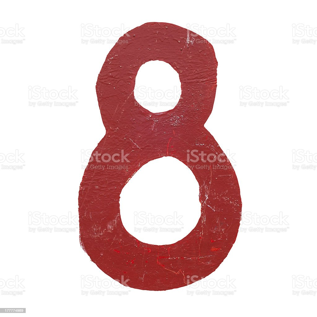Red handwritten number eight isolated royalty-free stock photo