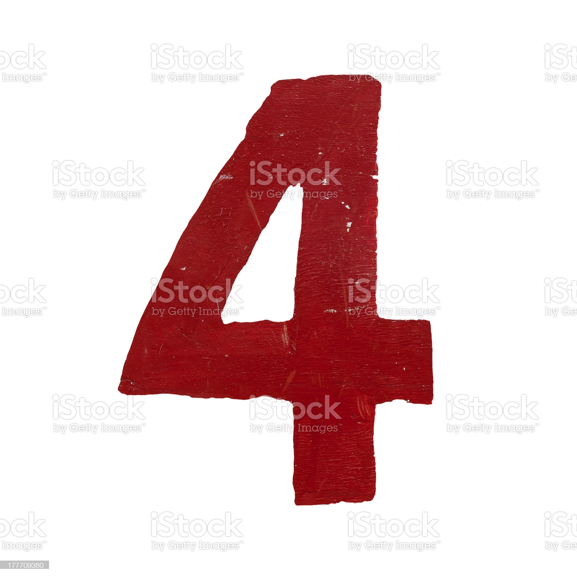 Red handwritten number four isolated royalty-free stock photo