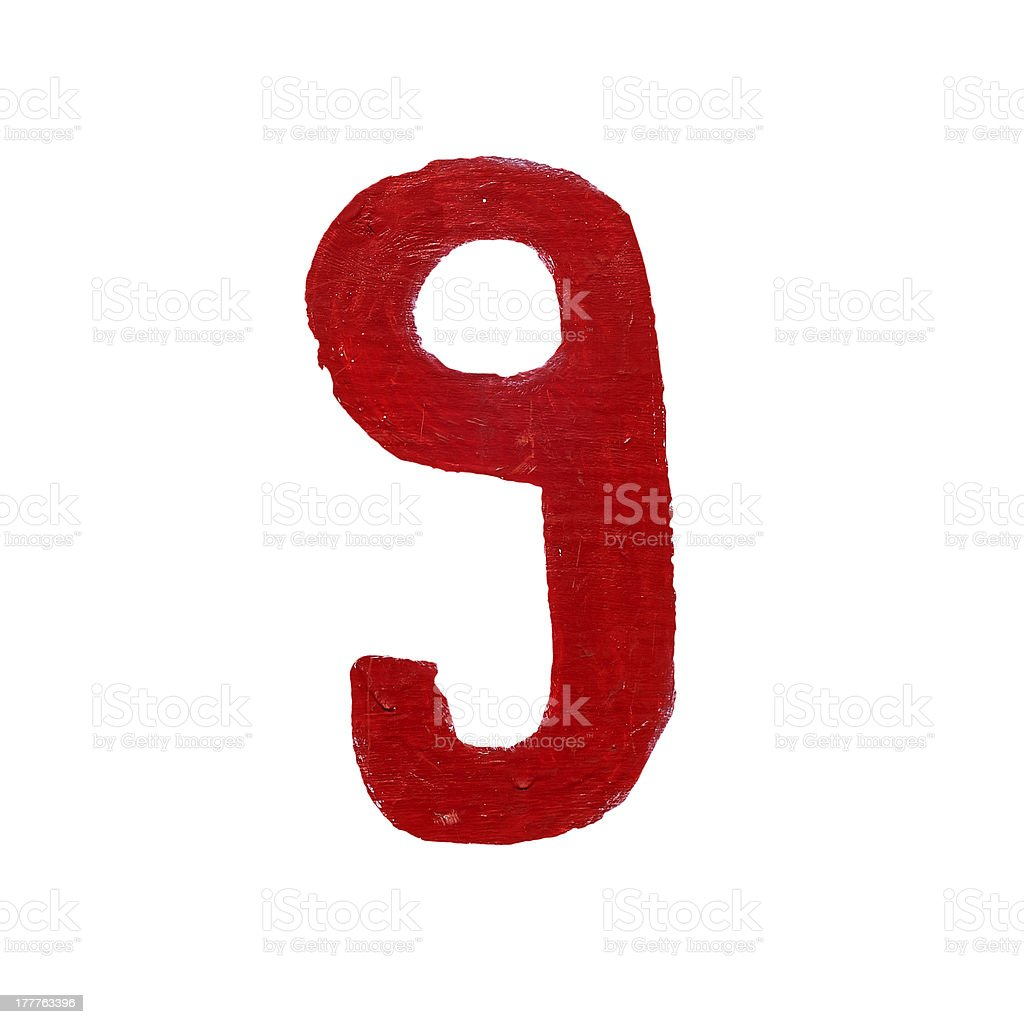Red handwritten number nine isolated royalty-free stock photo