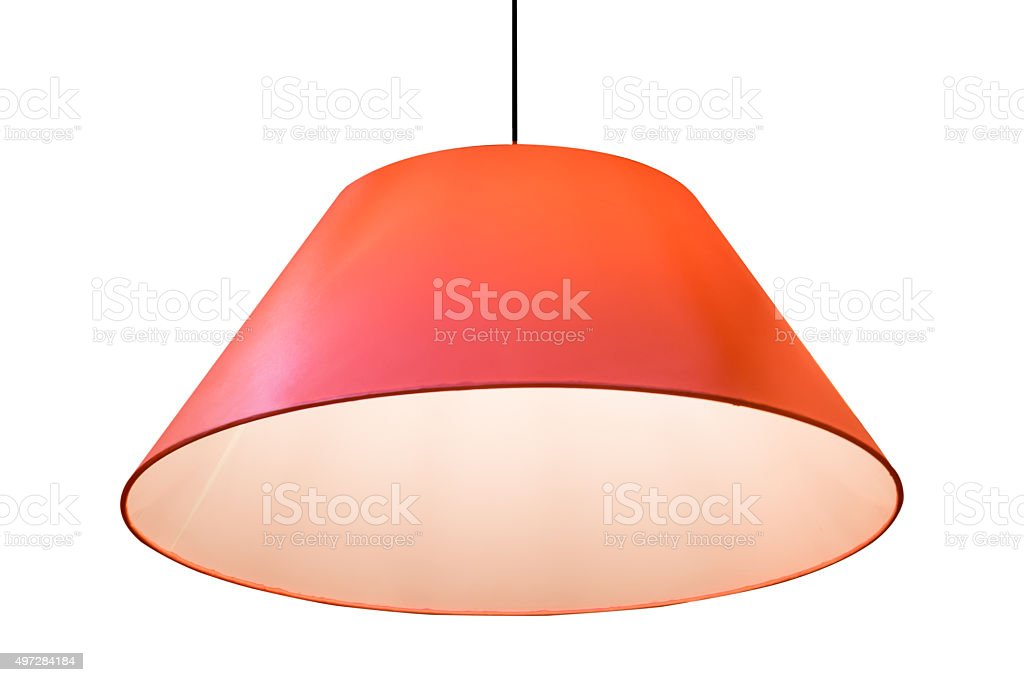 Red hanging lamp isolated on white background. stock photo