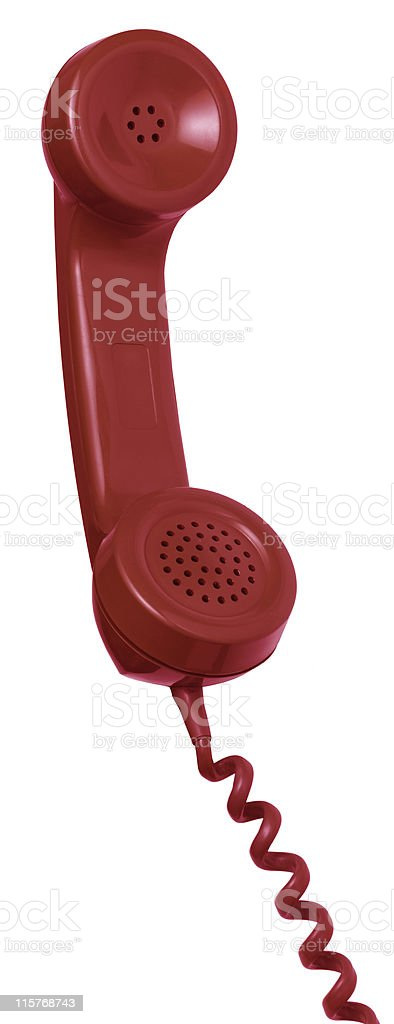 Red Hanging Telephone Receiver on a Spiral Cord royalty-free stock photo
