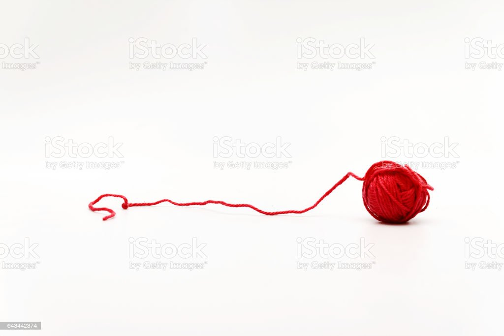red hank wool yarn isolated on white background stock photo