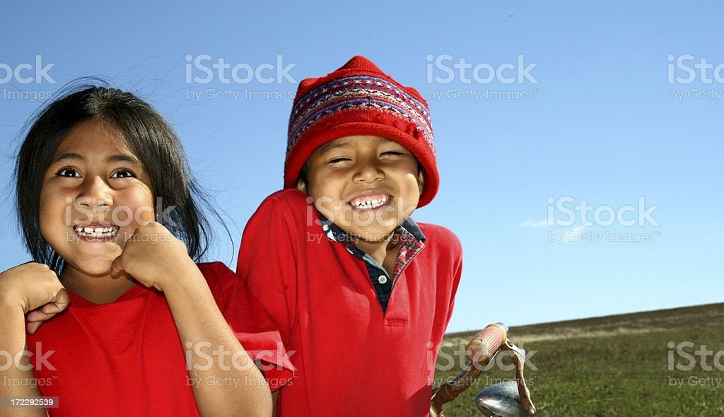 Red Happy Latin Littles stock photo