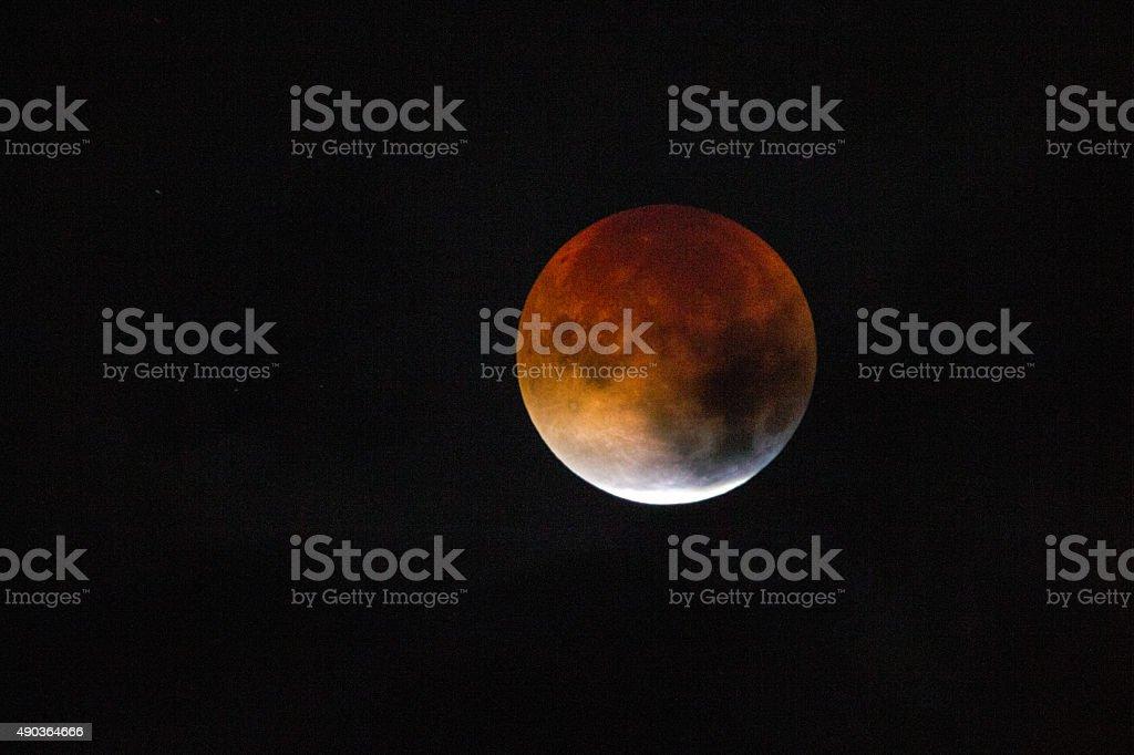 Red Harvest  Moon stock photo