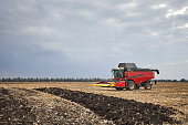 Red harvester working in a field