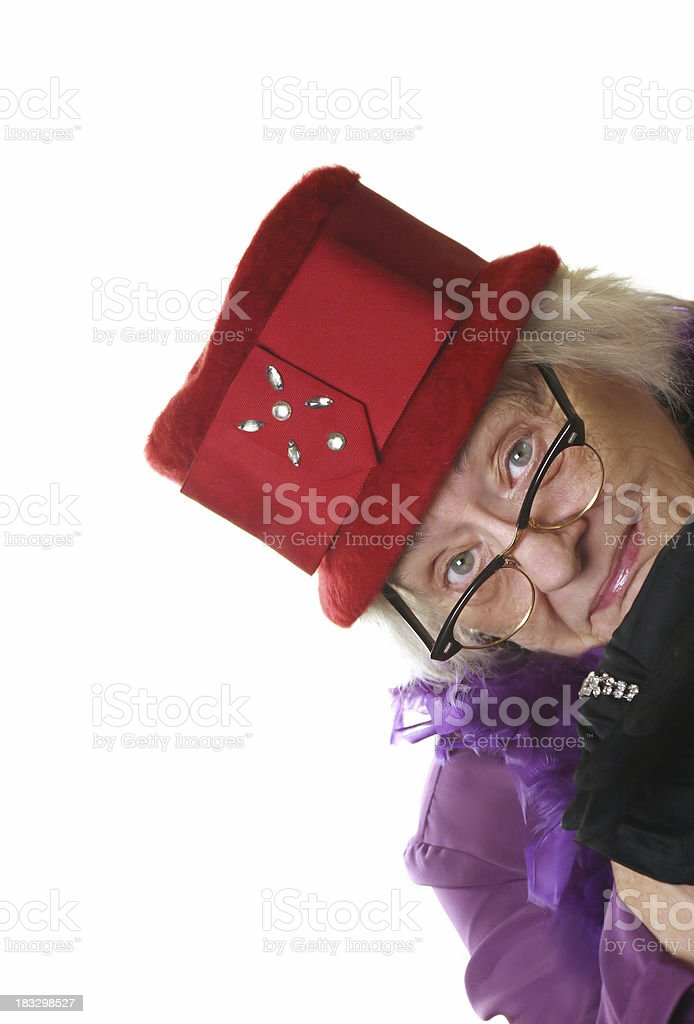 red hat lady stock photo