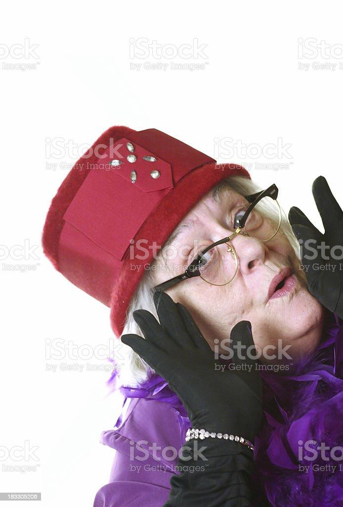 Red Hat Lady Suprise stock photo