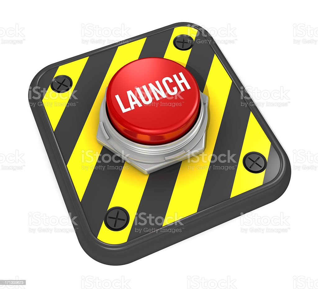 A red hazard launch button in bright white letters stock photo