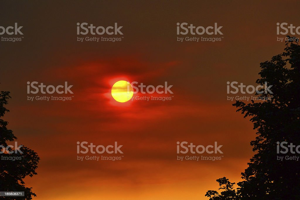 Red Hazy sunset royalty-free stock photo