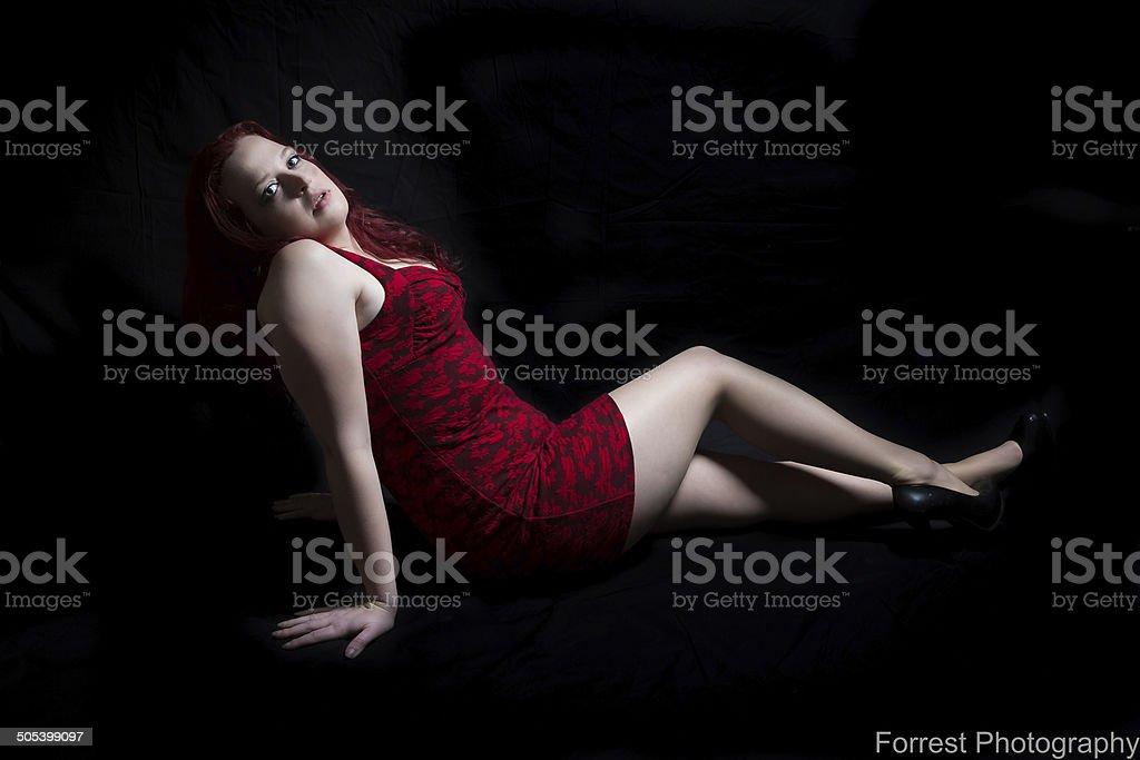 Red Head Model stock photo