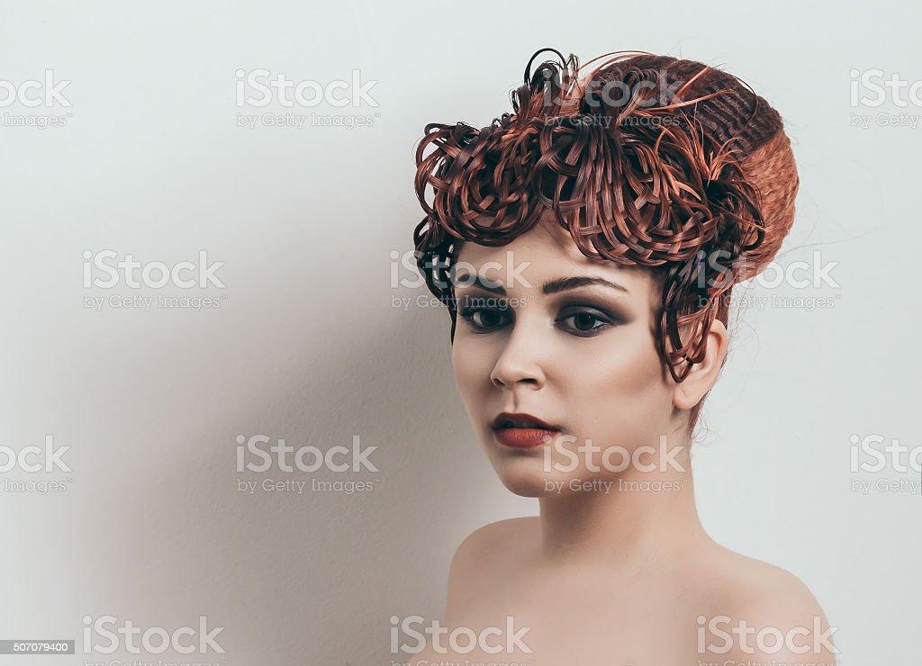 red headed girl stock photo